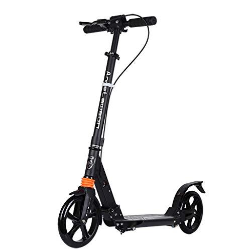 Faltbarer Tretroller für Erwachsene/Jugendliche, übergroße Räder, 200 mm Roller mit Handbremse/Pendler-Roller für Kinder, Unterstützung für Stadtroller, 100 kg (220 lbs), Schwarz