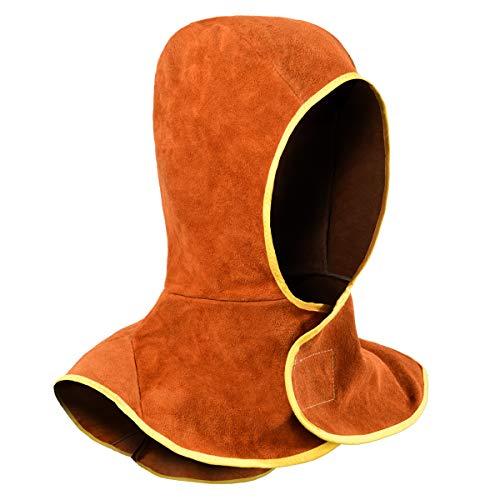 Capucha de Soldadura, Gorro para Soldador de Cuero Partido de la Vaca con Cobertor para Cuello y Hombro, Protección de Cabeza, Marrón