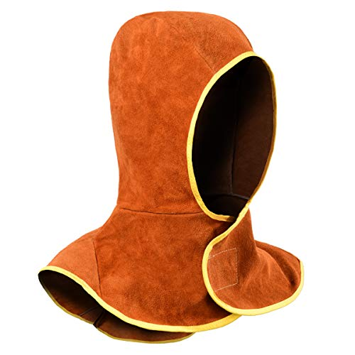 Welding Hood - Cowhide Split Leather Welding Caps with Neck Shoulder Drape - Head Protection, Brown