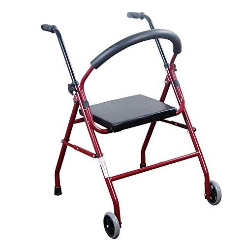 ZCPDP 2 Rueda Andador Walker, Ultra Ligero Plegable Andador, Andador con Asiento, Adecuado para los Ancianos Uso en Interiores al Aire Libre Movilidad Reducida ⭐