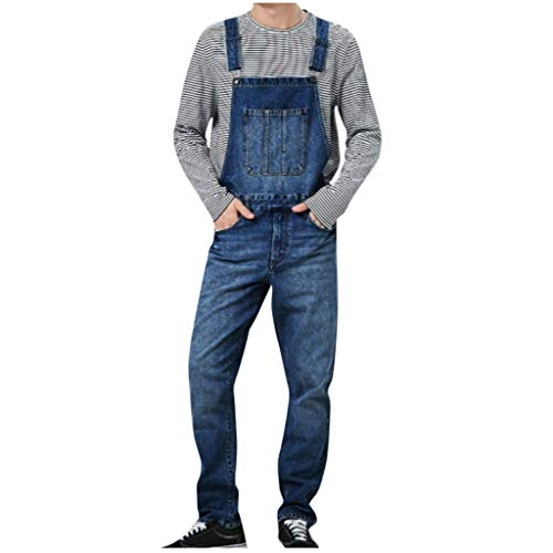 Xiangdanful Herren Jeans,Retro Denim Overalls Jumpsuit Latzhose, Lange Jeanshose Streetwear Arbeitshosen,Loose Fit,Stone-Washed,Männer Trägerhose Denim Pants Biker Jeans Cargohose (M, A-Dunkelblau)