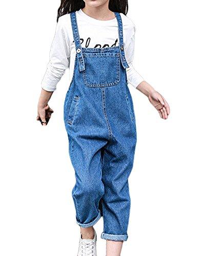 GladiolusA Mädchen Kinder Freizeit Jumpsuit Jeans Latzhose Overall Einteiler Onesie Jeanshose Mit Latz Blau 110