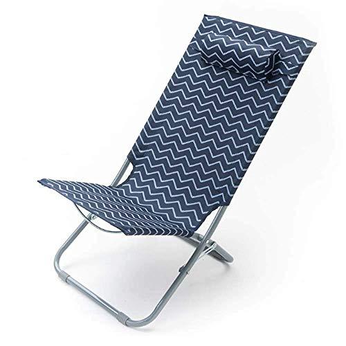 NMDD Sonnenliege, ultraleichter, klappbarer, tragbarer Liegestuhl, atmungsaktiv mit Nackenkissenstühlen für die Außenterrasse Garden Beach Pool Patio, A-110 * 60 * 64 cm