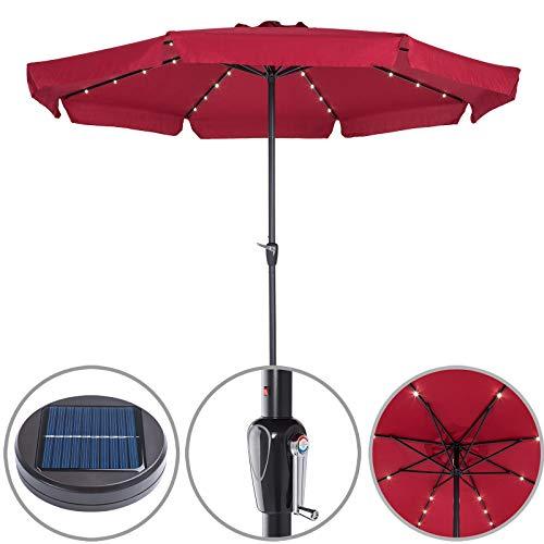 Kingsleeve Sonnenschirm I Alu I 32 LED I Solar I Ø 330cm I rot - Kurbelsonnenschirm Gartenschirm Terrassenschirm