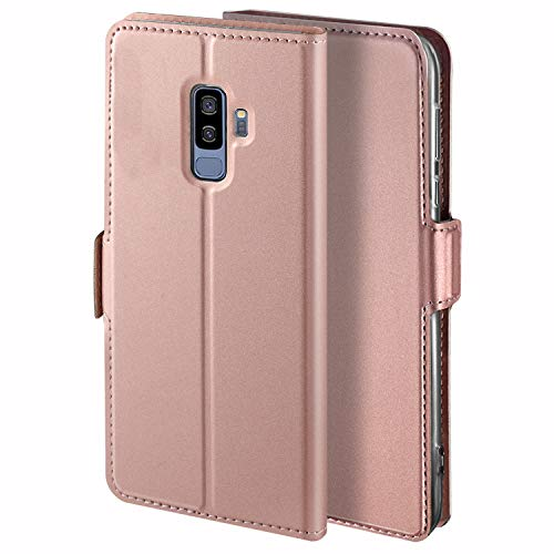 HoneyHülle für Handyhülle Samsung Galaxy S9 Plus Hülle Leder Premium Tasche Hülle für Samsung Galaxy S9 Plus, Schutzhüllen aus Klappetui mit Kreditkartenhaltern, Ständer, Magnetverschluss, Rose Gold