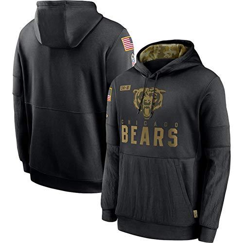 Z/A American Football - Chicago Bears T-Shirt, Sportkleidung Pullover, Langarm-Kapuzenshirt, Weich Und Leicht, Basketball Training Sweat, Fan-Geschenk,Schwarz,XXL