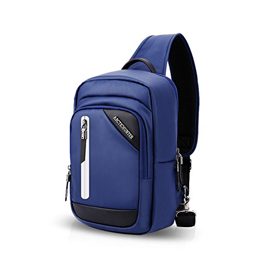 FANDARE Bolso Pecho Impermeable Bandoleras Cruzada Bolsos de Hombre con USB Sling Crossbody Bag para Gimnasio Hiking Ciclismo Bolso Senderismo Bolso Bandolera Impermeable Poliéster Azul