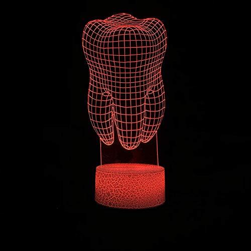 3D-led-tanden meerkleurig, nachtlampje, creatief huis, decoratieve verlichting, kamer, USB, ziekenhuis, werktafel, nachtkastje, baby, slapen.