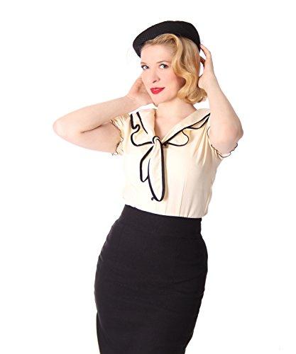 SugarShock Damen Schluppenbluse Bluse Dollydi, Größe:M, Farbe:cremé