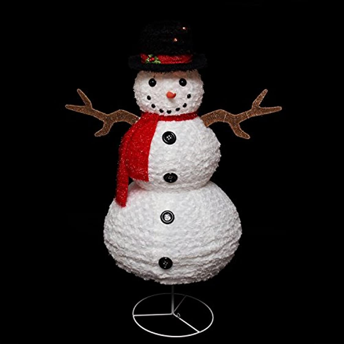 Northlight Seasonal Pre-Lit Outdoor Chenille Swirl Snowman w/Top Hat Christmas Yard Art Decoration, 48 bv28878327492791