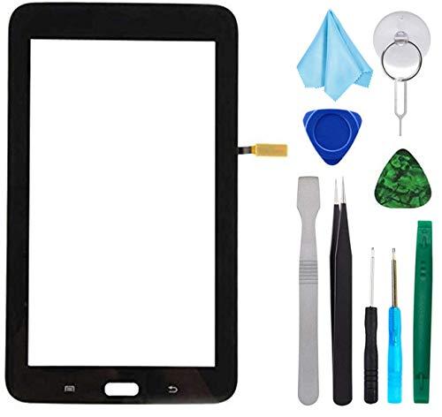 Tefir Negro Pantalla táctil de Cristal para Samsung Galaxy Tab 3 Lite 7.0 T110 SM-T110 (sin LCD) con Adhesivo y Herramientas