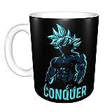 Conquer - Tazza da caffè in ceramica divertente e divertente Goku Super Saiyan God Blue per casa e ufficio