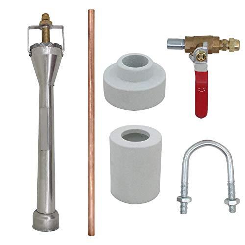 Quemador Venturi Gas para forja de Gas propano butano Horno de fundición de Metales forja Herrero fusión (Cuerpo INOX+Tubo Cobre)