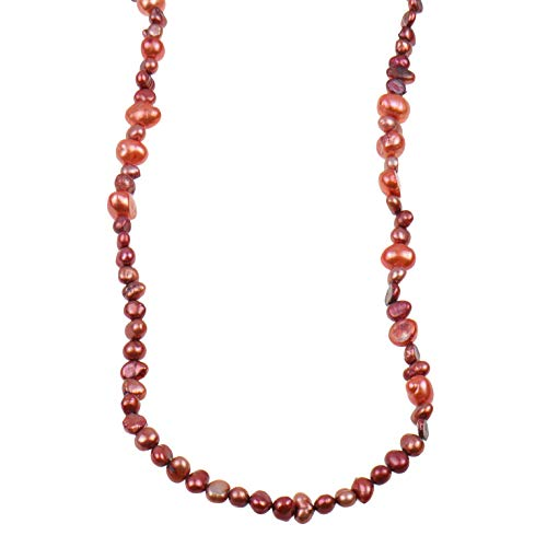 Collana di perle d'acqua dolce SWZP color rame, lunghezza 250 cm