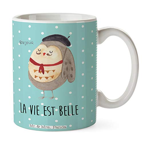 Mr. & Mrs. Panda Tee, Kaffeetasse, Tasse Eule Französisch mit Spruch - Farbe Türkis Pastell