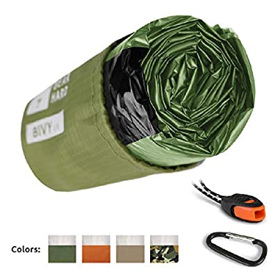 Bearhard Emergency Sleeping Bag Emergency Bivy Sack Ultralight Waterproof Thermal Survival Bivvy Cover with Heat Retention for Camping, Hiking & Emergency Shelter Green