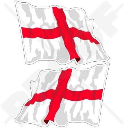 Angleterre anglais agitant Drapeau Croix de St George Angleterre UK 11,9 cm (120 mm) Vinyle Bumper Stickers, décalcomanies X2