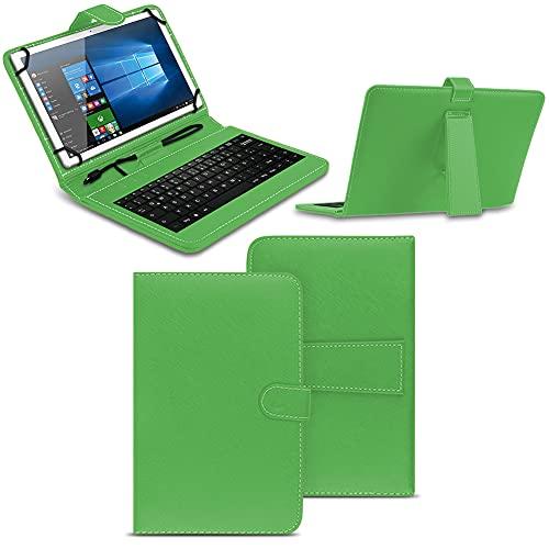 NAmobile Tastatur Schutzhülle kompatibel für Wortmann Terra Pad 1006 Tasche Keyboard USB Hülle QWERTZ Standfunktion Universal Cover, Farben:Grün