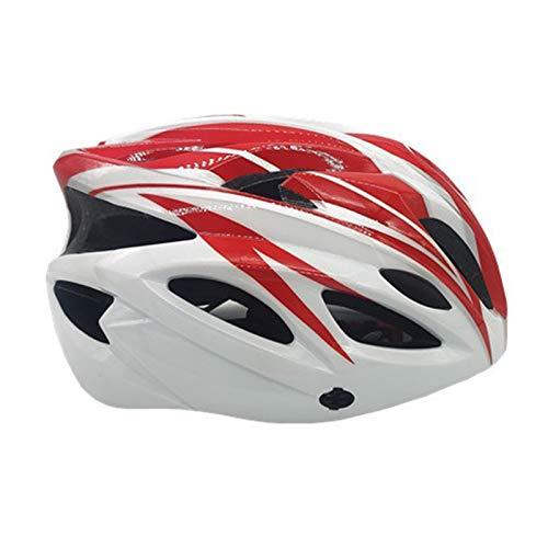 TOYHEART Casco De Bicicleta 56-64 CM, Unisex 18 Hoyos Casco De Ciclismo De Bicicleta Ajustable Transpirable De Seguridad Ultraligero Blanco Rojo
