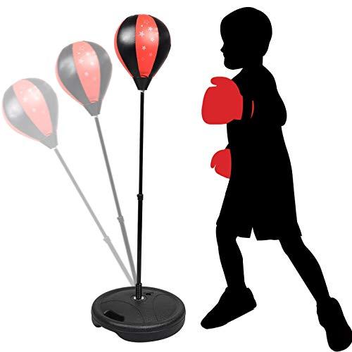 Set Box con Palla Punching Ball Stand Guanti Altezza Regolabile Fino a 85 cm Giocattolo Sacchi da Pugilato piantana …