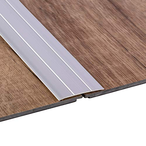 Gedotec Übergangsprofil selbstklebend Übergangs-Schiene Laminat - Vinyl - Teppich UVM. | Boden-Profil flach | Aluminium Silber eloxiert | Länge 100 cm | Breite 37 mm | 1 Stück - Boden-Schiene Alu