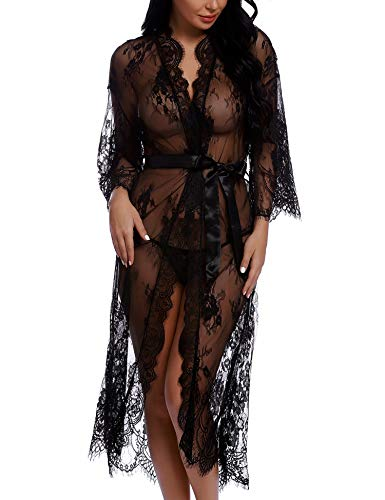 RSLOVE Lingerie for Women Long Lace Kimono Robe Eyelash Babydoll Sheer Cover up Dress Black XXL