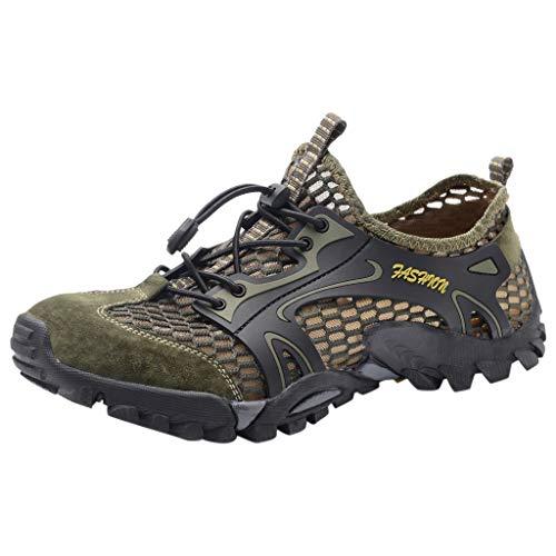 FNKDOR Schuhe Herren Tunnelzug Watschuhe, Hohl Atmungsaktiv Wading Shoes Schnell trocknend Flussschuhe Outdoor-Schuhe Wanderschuhe Laufschuhe Armee-Grün 42 EU