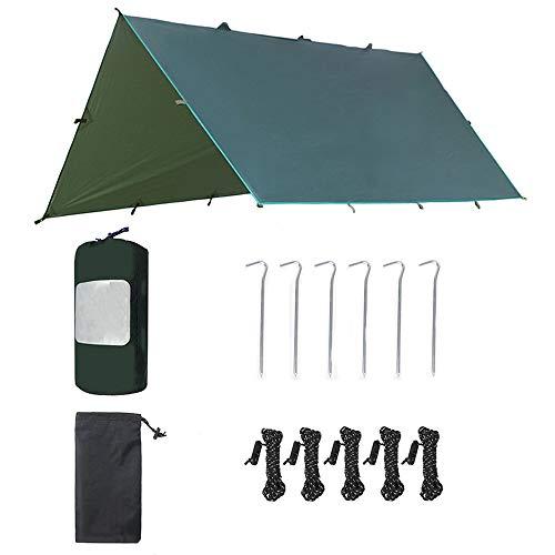 KLFD Tente Tarp Multifonctions, Imperméable Coupe-Vent Snowproof Tente Anti-UV Tarp, Pluie Fly Tente Tarp Lumière Ripstop pour Camping, Voyage, en Plein Air, Jardin 320 * 300cm,Vert