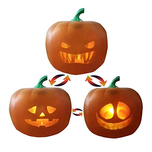 3 in 1,Halloween Talking Animated Pumpkin With Built In Projector Speaker,Singing/Talking/Joking Pumpkin For Halloween For Home Party (6x6x6in)