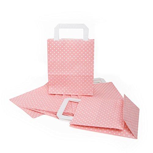50 rosa rosè farbene weiß gepunktete Papiertaschen Geschenktaschen mit Henkel 18 x 8 x 22 cm Tüten give-away Mitgebsel Geschenk-Verpackung Geschenktüten Ostertüten