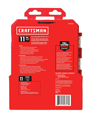 CRAFTSMAN Socket Set with Ratchet, Metric, 3/8-Inch Drive, 11-Piece Set (CMMT12027)