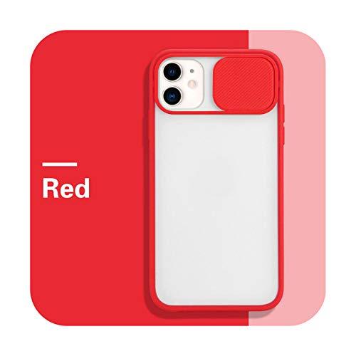 Funda de protección de la lente de la cámara para iPhone 11 12 Pro Max 8 7 6 s Plus Xr XsMax X Xs SE 2020 12 Color Candy Soft Back Cover-Rojo-Para iPhone 6 (6S)