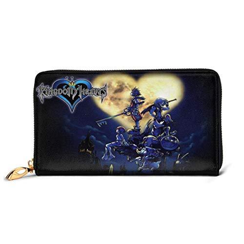 XCNGG Kingdom Hearts Cartera con bloqueo Carteras de cuero genuino Cartera con doble cremallera Organizador Bolsa de embrague Titular de la tarjeta de crédito Monedero de gran capacidad Bolsa de teléf