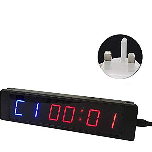 Digital Clock Countdown Timer, Interval Timer 5V 6-Cijferige Timer Stopwatch Fitness Boxing Stop Remote Electronic Timer - EU Gratis Grootte,Black