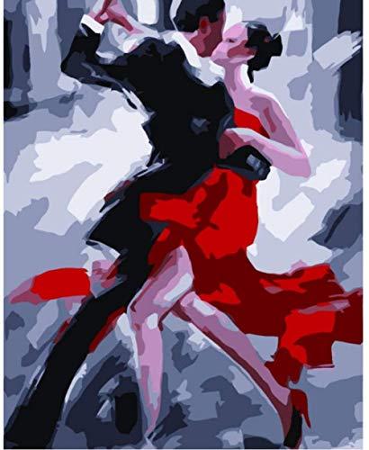JFZJFZ Abstrakte Tangotänzerin Digital Paint Painting nach Zahlen Färbung nach Zahlen Bilder von Zeichnungen Home Decoration Freund Geschenk 40x50cm No Frame