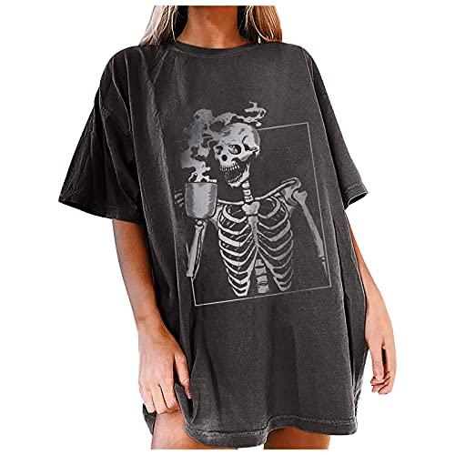 Liably Blusa de manga corta para mujer, estilo vintage, con estampado de luna, esqueleto, informal, básica, elegante, cuello redondo naranja XXXL