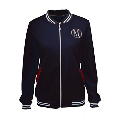 Mujer Chaquetas Invierno Otoño Universitarias Elegantes Béisbol Varsity Deporte Jacket Manga Larga Stand Cuello con Cremallera Bordadas Outerwear Moda Casual Bomber Abrigos Coat
