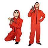 Unisex Halloween Party Freaky Polyester Red Play Onesie with Mask (Red, XS)