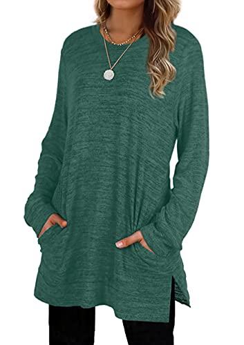 Tunic Tops For Women Sweatshirts Oversized Long Top Pocket Womens Shirts Green XL