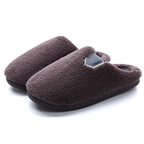 Homeen Zapatos cálidos acogedores de la casa,Zapatillas de Zueco de Invierno Unisex,Bonitas Zapatillas cálidas para niños niñas,Suelas de Goma Antideslizantes,Zapatillas de Viaje-Gris_42-43
