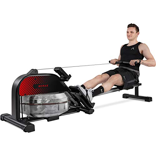 Merax Water Rower Foldable Rowing Machine 400 LBS Home Gym Cardio Fitness Equipment Water Resistance