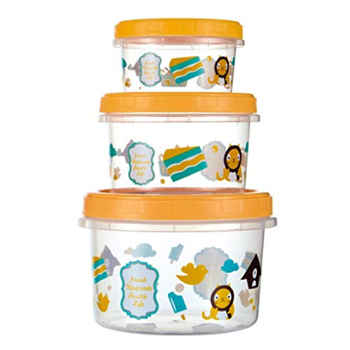 Ramoni Glass Baby Food Storage Containers BPA-Free Airtight Leak-Proof Baby Food Jars with Labels Set of (250+500+1000) ml Orange
