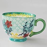 セラミック花朝食用シリアルカップユニークなコーヒーティーマグ500ML (Color : Green)