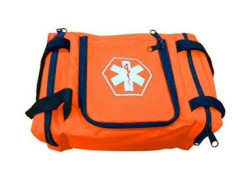 First Aid Responder EMS Emergency Medical Trauma Bag EMT, Fire Fighter, Police Officer, Paramedics, Nurse (Orange)