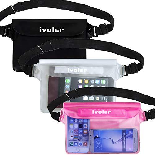 ivoler [3 Unidades Riñonera Impermeable Universal con Correa de Cintura, Bolsa Estanca para Playa, Floating, Rafting, Kayak, Senderismo, Pesca, Escalada, Camping, etc. (Negro+Transparent+Rosa)