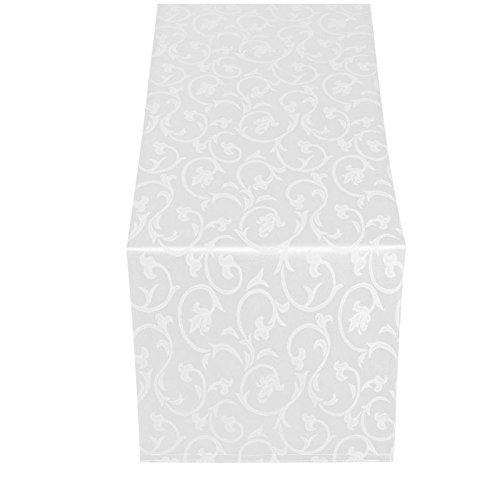 Moderno Barock Tischläufer Tischband 40x130 cm im Damast Stil Farbe 'Weiss'
