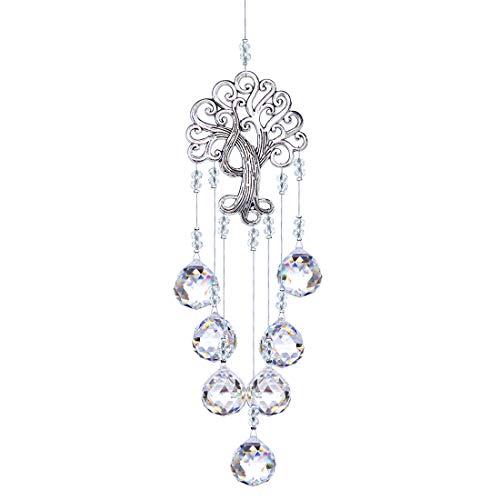 H&D Kristall Regenbogen Sonnenfänger,Metall Baum des Lebens Anhänger,hängende Glaskugel Prisma