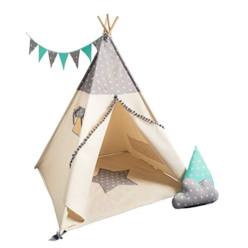 cozydots Indianer Spielzelt Tipi Zelt für Kinder Spielzelt im Alter von 0-7 Jahren, 150 cm hoch, für Jungen und Mädchen, Indianer Abenteuerzelt (Grey Stars)