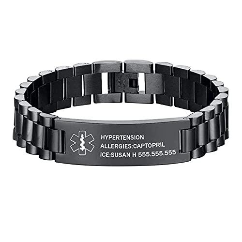 Medical Alert Bracelet for Men Free Engraving Titanium Steel Medical Bracelet Emergency Medical ID Bracelets for Men (Black)