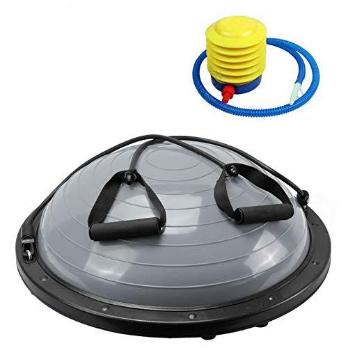NordFalk Balance Trainer Ø 60 cm - Balance Ball/Fitness Board mit Widerstandsbändern - inklusive Pumpe - grau